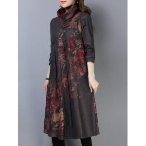 Patchwork Floral Print Long Sleeve Turtleneck Dress