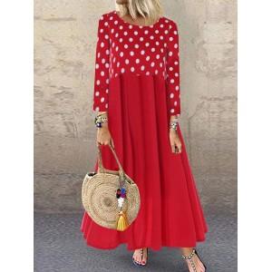 Polka Dots Patch Long Sleeve Vintage Maxi Dress