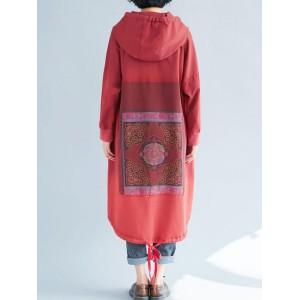Vintage Loose Printed Gradient Hooded Patchwork Long Sleeve Dress