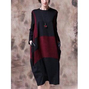 Contrast Color Patchwork Long Sleeve Vintage Dress For Women