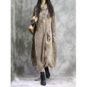 Turtleneck Solid Color Pocket Long Sleeve Dress For Women