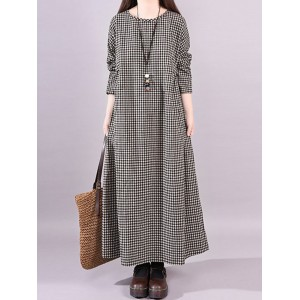 Vintage Plaid Crew Neck Maxi Dress