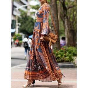 Bohemian Print Long Sleeve Vintage Maxi Dress For Women
