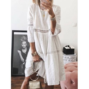 Embroidered Hollow 3/4 Sleeve Dress For Women