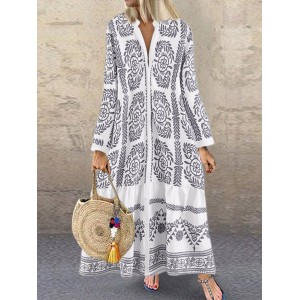 Bohemian Vintage Print Long Sleeve V-neck Ruffle Button Dress