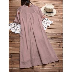 Irregular Floral Embroidered Pockets Short Sleeve Vintage Dresses