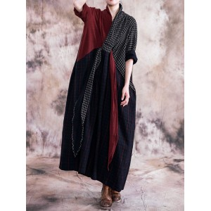 Plaid Print Patchwork Long Sleeve Vintage Dress For Women