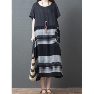 Stripe Print Patchwork Short Sleeve Vintage Dress For Women