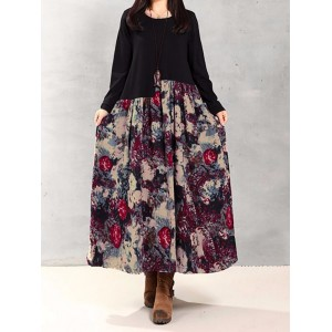 Splicing Floral Leaf Print Patchwork Loose Long Sleeve Women Dress