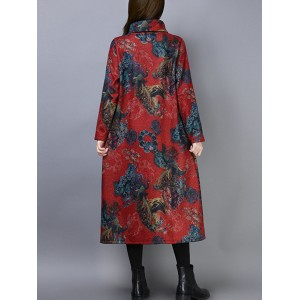 Print High Collar Long Sleeve Loose Vintage Dress