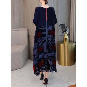 Print Patchwork Velvet Long Sleeve Vintage Dresses