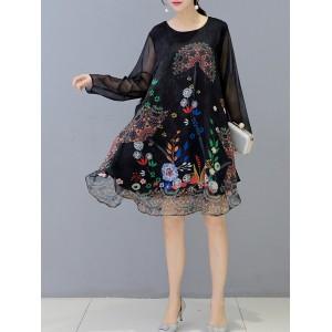 Ethnic Floral Print Irregular Long Sleeve Vintage Dresses
