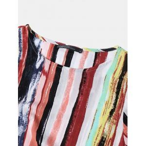 Multicolor Stripe Loose Short Sleeve Vintage Dress