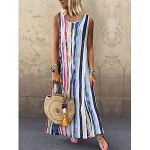 Multicolor Striped Sleeveless Summer Dress For Women