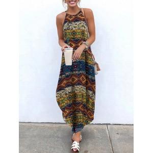 Vintage Bohemian Sleeveless Strappy Printed Maxi Dress