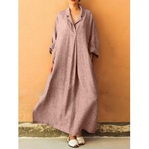 Solid Color Loose Lapel Long Sleeve Casual Maxi Dress