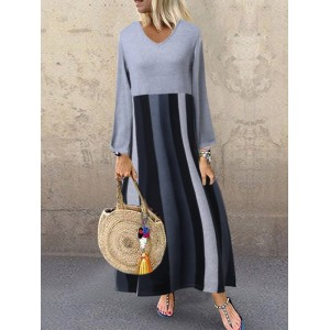 Casual Patch Striped V-neck Long Sleeve Dress
