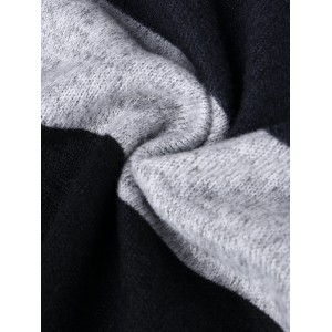 Casual Patch Striped V-neck Long Sleeve Dress