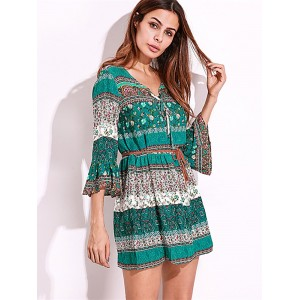 Bohemian Women Flounce Bell Sleeve Floral Printed V-neck Mini Dresses