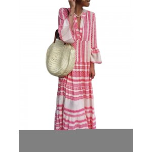Bohemian Stripe Patchwork Maxi Dress For Women