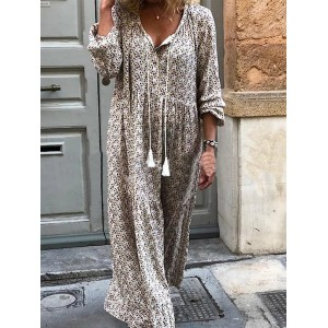 Bohemian Print Long Sleeve V Neck Tassel Dress