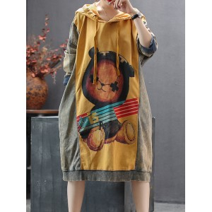 Contrast Color Cartoon Print Long Sleeve Hooded Dress