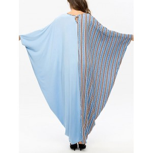 Contrast Color Stripe Bat Sleeve Maxi Dress For Women