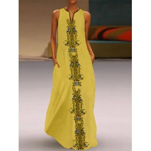 Bohemian Ethnic Print Sleeveless Maxi Dress For Women