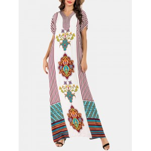 Bohemian Print V-neck Patch Short Sleeve Maxi Dress
