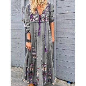 Bohemian Embroidered Long Sleeve Maxi Dress For Women
