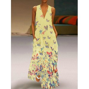 Bohemian Butterfly Print Sleeveless Maxi Dress For Women
