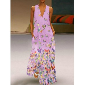 Bohemian Butterfly Print Sleeveless Maxi Dress For Women