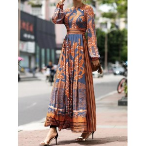 Bohemian Print Long Sleeve Vintage Maxi Dress For Women