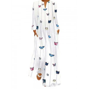 Butterfly Print Long Sleeve Maxi Dress