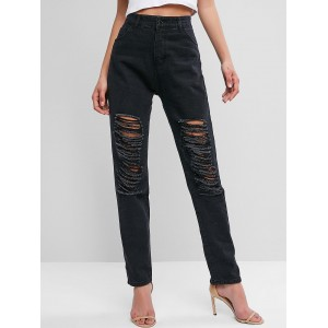Destroyed High Waisted Straight Jeans - Black L