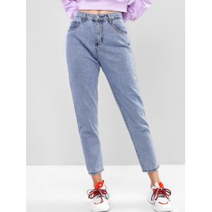 Basic Boyfriend Jeans - Denim Blue Xs