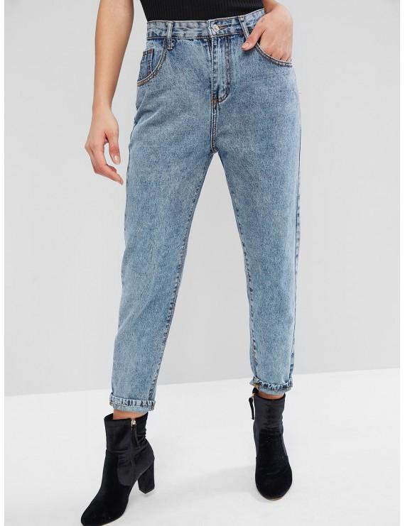 High Waisted Mom Jeans - Denim Blue S