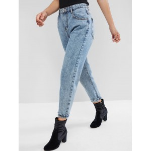 High Waisted Mom Jeans - Denim Blue S