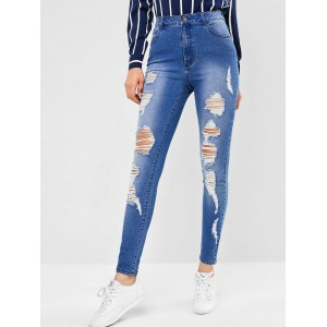 Ripped Skinny Jeans - Jeans Blue M