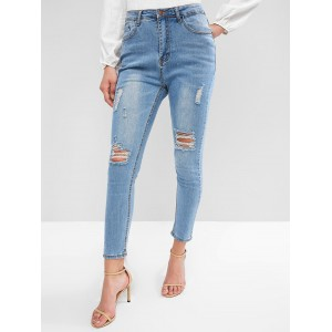 Bleach Wash High Waisted Destroyed Skinny Jeans - Denim Blue M