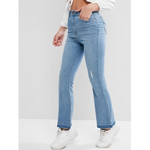 Ripped Frayed Hem Bootcut Jeans - Jeans Blue S