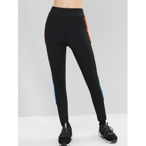 Color-blocking High Waisted Stretchy Gym Leggings - Black Xl