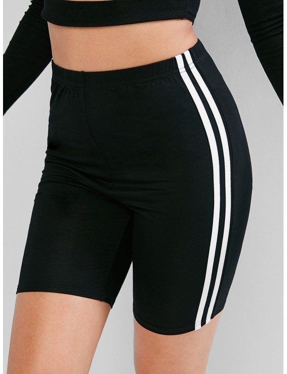 High Waisted Racing Stripes Biker Shorts - Black Xl