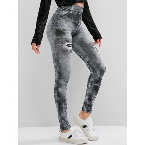 High Rise Printed Skinny Jeggings - Gray M