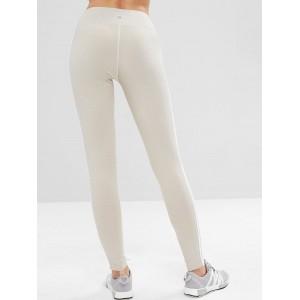 Lace Up Stripe Side Sports Leggings - Platinum M