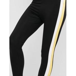 Contrast Side Striped High Waist Leggings - Black S