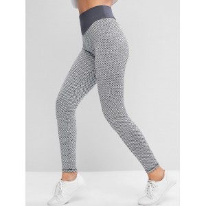 Active Honeycomb Knit Scrunch Butt Leggings - Gray M
