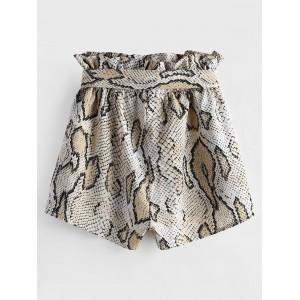 Snakeskin Print Wide Leg Belted Shorts - Multi S