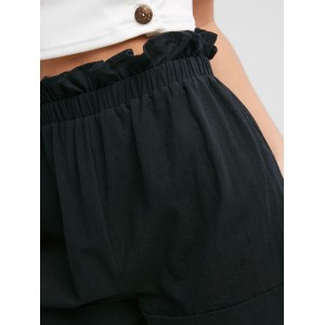 Frilled High Waisted Cuffed Shorts - Black M
