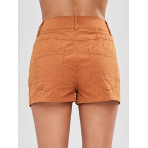 Button Fly Pocket Shorts - Light Brown S
